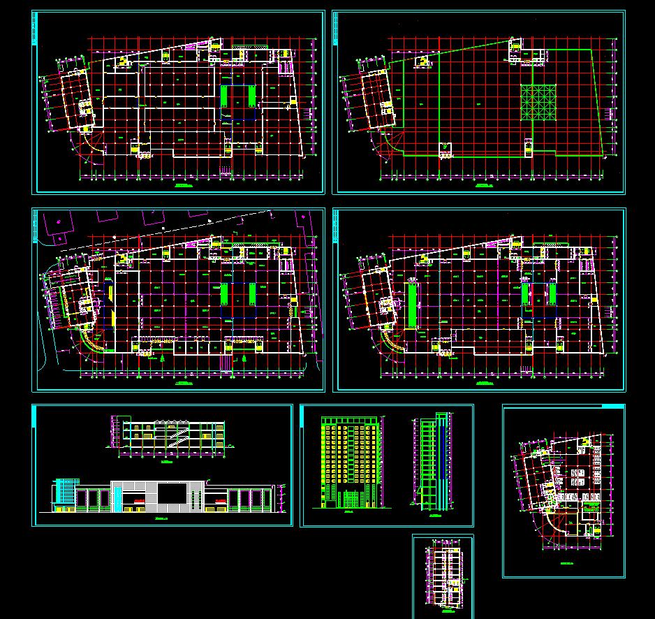 某大型商场设计方案CAD平立剖面图图片1