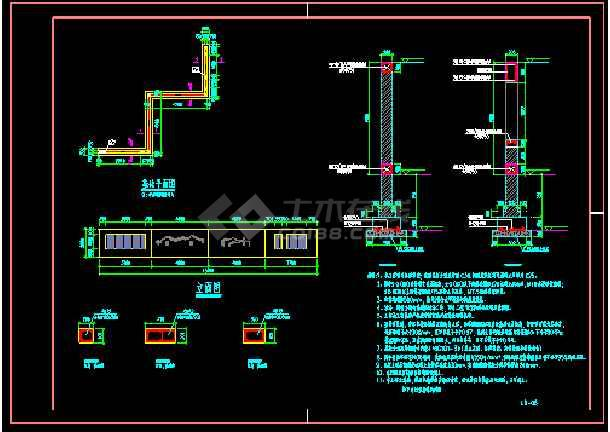 鹭之舞构架二结施和景墙结施-图3