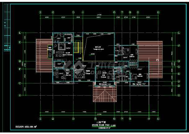某地区某2层独立别墅设计cad建施图附效果图-图2