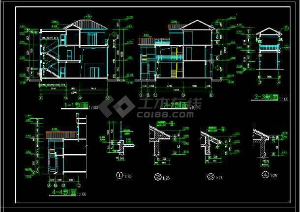 某地区某风格2套别墅设计cad建施图附效果图-图2