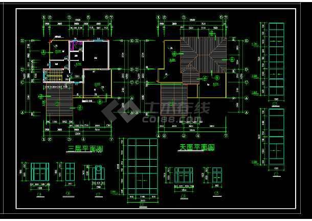 某地区某风格2套别墅设计cad建施图附效果图-图3