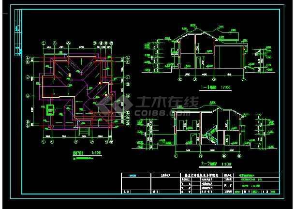 某地区某别墅区设计cad建施图带效果图-图1