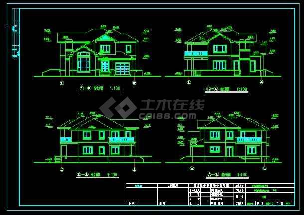 某地区某别墅区设计cad建施图带效果图-图3