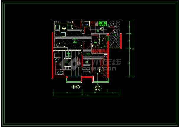 某精品两室一厅家装设计方案cad施工图-图1