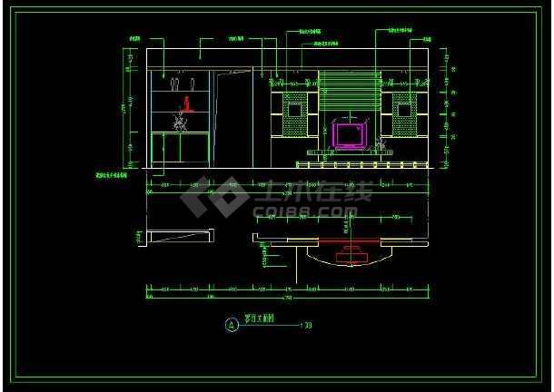 某精品两室一厅家装设计方案cad施工图-图3