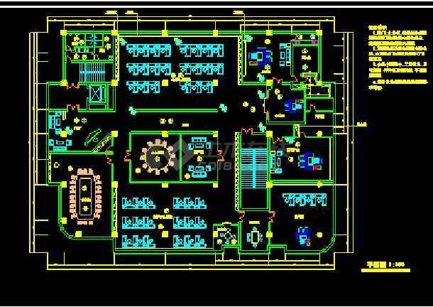 某市电信办公楼装饰CAD施工设计图纸-图1
