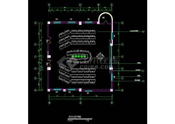 某地市政府办公楼多个会议室装修设计cad图-图1
