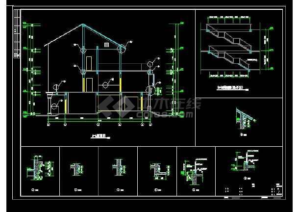 某地区D型别墅设计cad建施图带效果图-图1