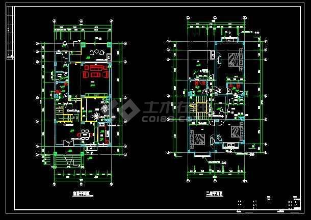 某地区D型别墅设计cad建施图带效果图-图3
