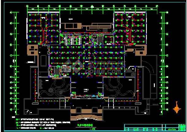 广州某图书馆电气施工cad平面设计图-图1