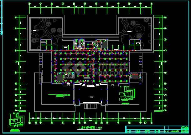 广州某图书馆电气施工cad平面设计图-图2