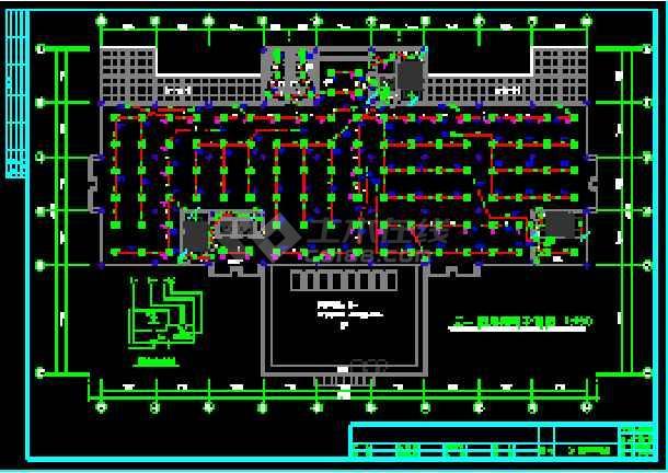 广州某图书馆电气施工cad平面设计图-图3