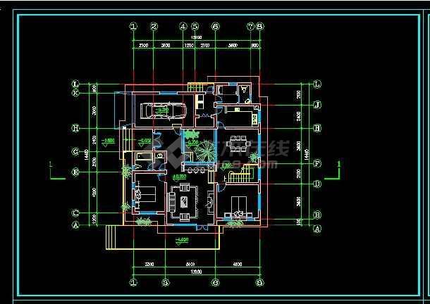 某地区某风格别墅设计cad施工图带效果图-图2