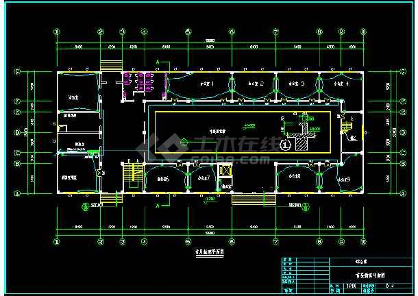 某办公楼电气照明cad平面设计图-图1