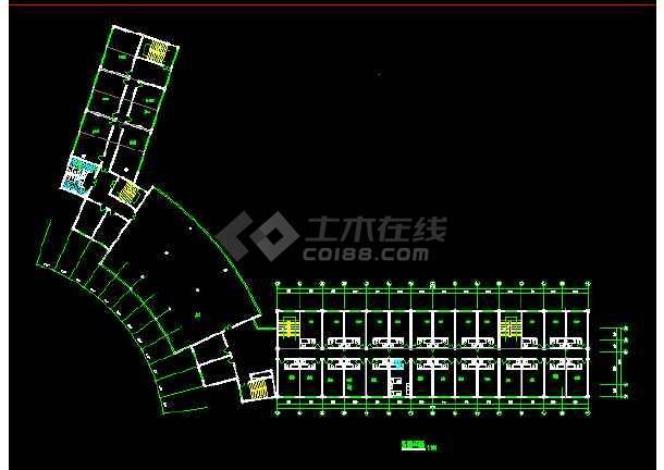 某宾馆客房CAD平面设计施工图纸-图1