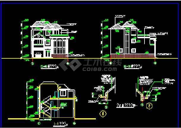 某水岸别墅建筑施工CAD设计平立面图纸-图2