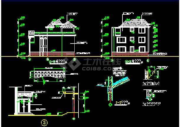 某水岸别墅建筑施工CAD设计平立面图纸-图3