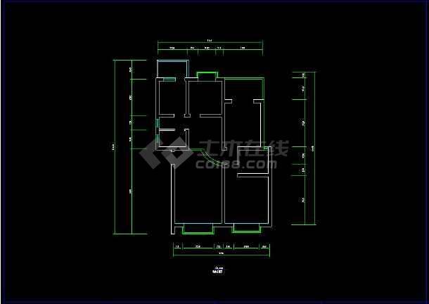 某简单两居室室内装修设计cad施工图纸-图1