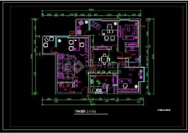 某经典户型室内装修设计cad方案施工图-图1