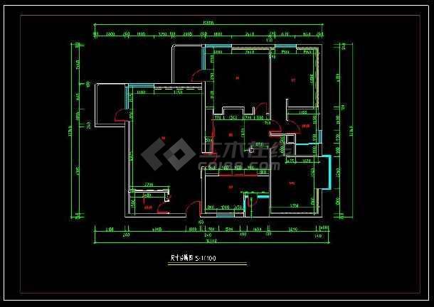 某经典户型室内装修设计cad方案施工图-图2