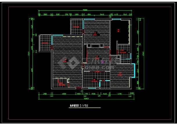 某经典户型室内装修设计cad方案施工图-图3