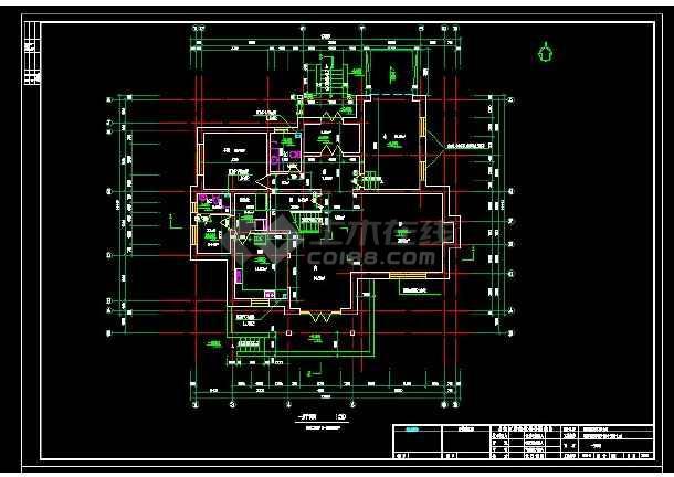 某地区某风格别墅设计cad建筑施工图带效果图-图1