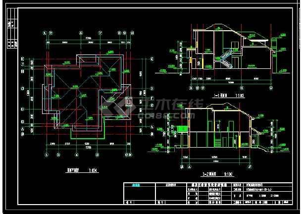 某地区某风格别墅设计cad建筑施工图带效果图-图2