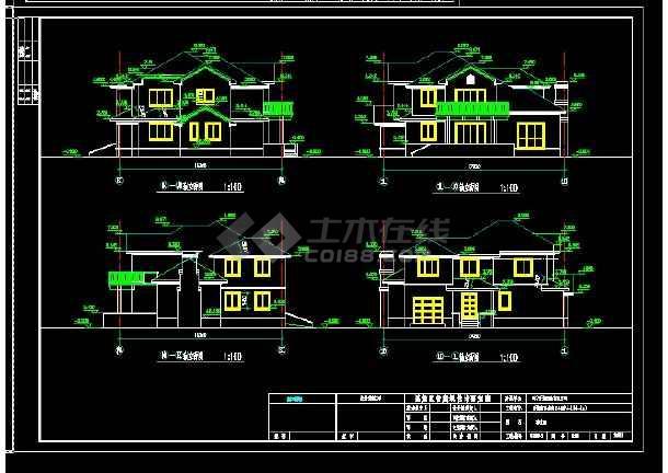 某地区某风格别墅设计cad建筑施工图带效果图-图3