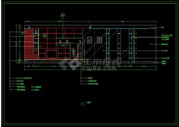 某小区两居室家装设计方案cad施工图-图3
