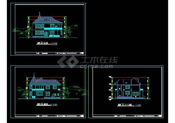 某地区风格别墅设计cad建筑图带效果图-图2