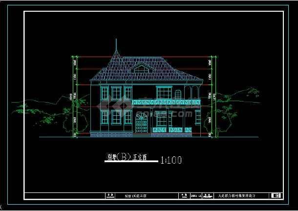 某地区风格别墅设计cad建筑图带效果图-图3