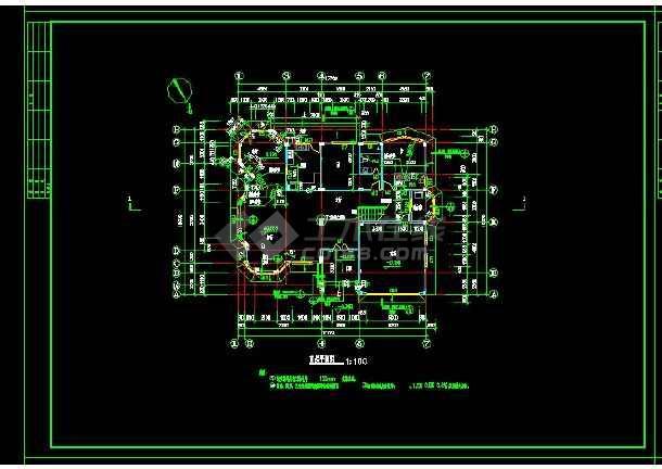 某地区某类型别墅设计cad建筑结构图带效果图-图1