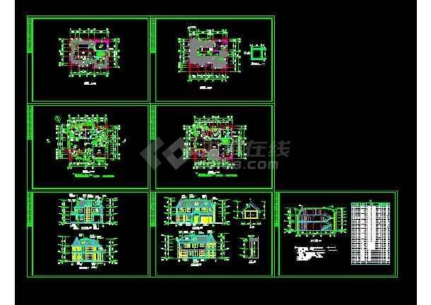 某地区某类型别墅设计cad建筑结构图带效果图-图3