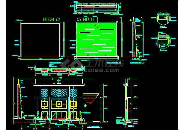东莞翔盈国际酒店外cad平立面照明设计图-图3