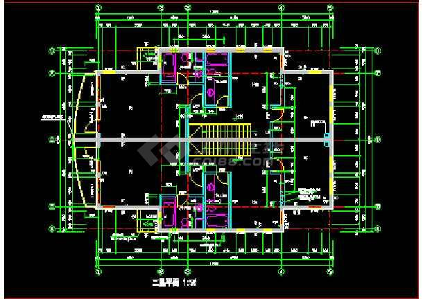 某小区联体别墅建筑CAD设计施工图纸-图3
