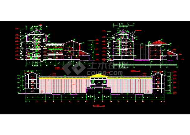 宾馆设计建筑CAD平立剖面施工图-图3