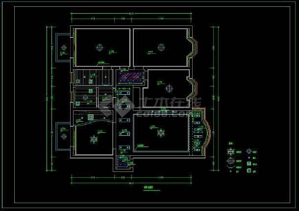 某经典大两居住宅楼室内装修设计cad施工图-图2