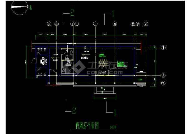 某生态园四合院西厢房设计cad建施图-图1