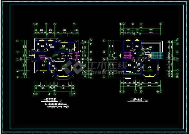 某地区某带阁楼别墅设计cad建施图带效果图-图1