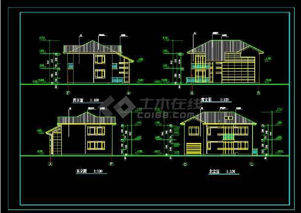 某钢框架结构别墅建筑施工图附效果图-图3