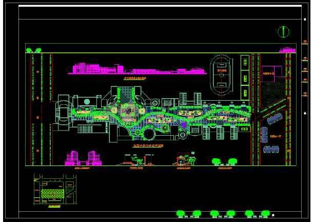 某市区步行街CAD总平立面设计图-图1