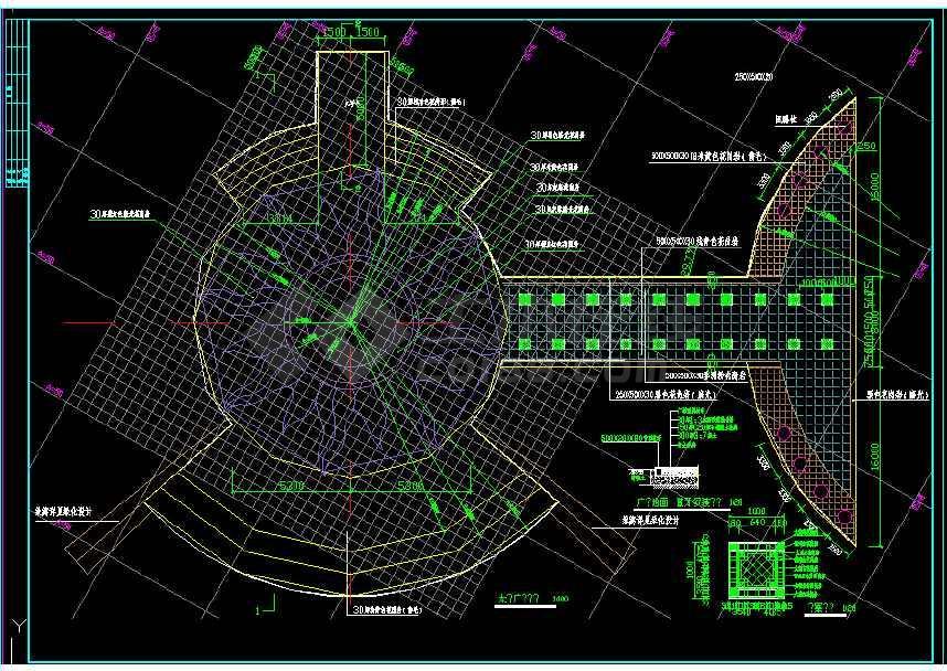 某地大型精美详细的湖泊园林建筑cad施工图-图1