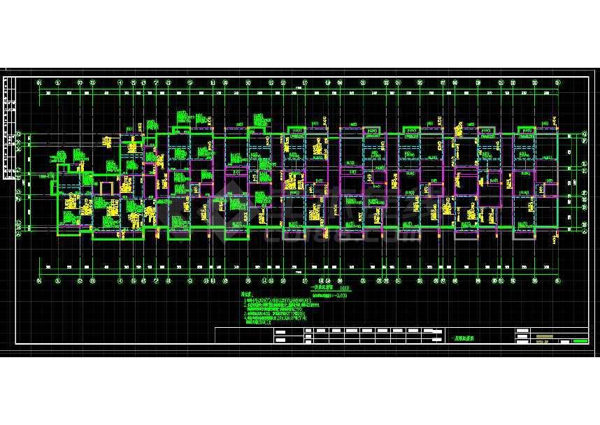 某地三层住宅楼框架结构建筑cad施工图-图1