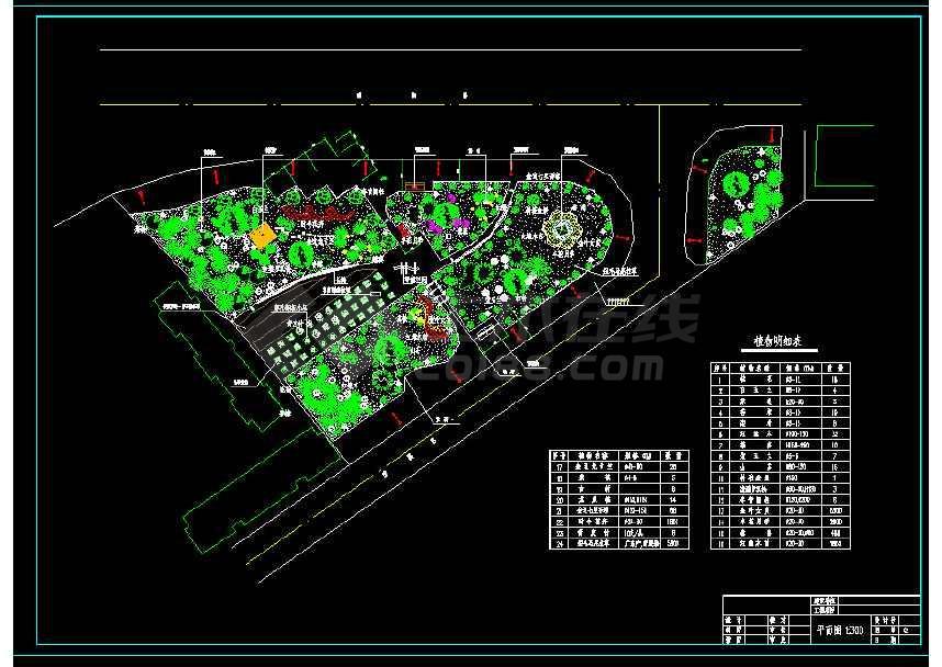 某地小型大道三角绿地绿化园林景观建筑cad设计图-图1