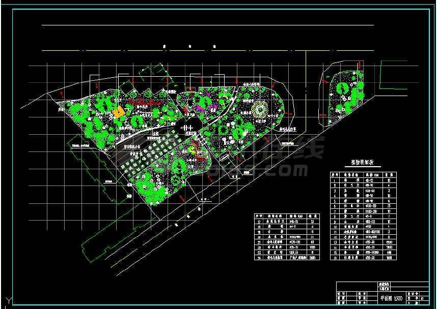 某地小型大道三角绿地绿化园林景观建筑cad设计图-图2