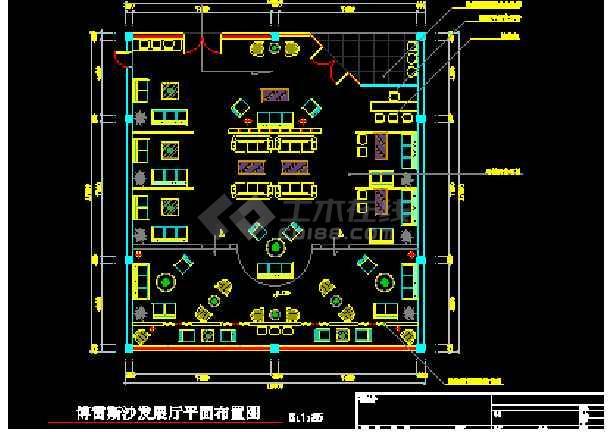 某城市沙发家具展厅室内装修cad施工图-图3