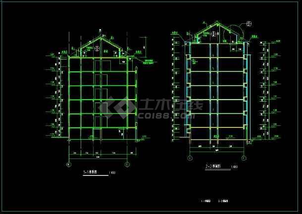 某地六层住宅楼整体cad设计施工方案图(含设计说明)-图1