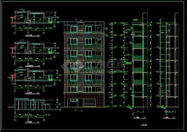 某地六层住宅楼整体cad设计施工方案图(含设计说明)-图2
