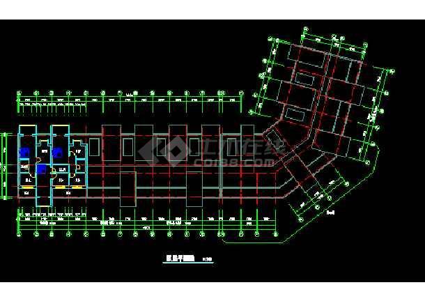 某小区多层转角楼住宅楼CAD建筑施工设计图纸-图3
