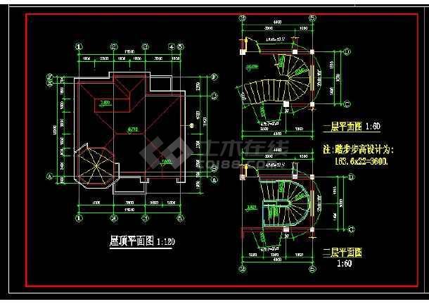 某地区某独栋别墅设计cad建筑施工图纸-图3